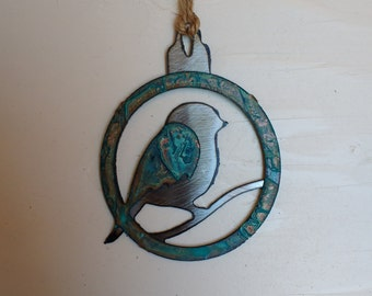 Patina Fat Bird Ornament