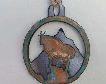 Patina Mountain Goat Ornament