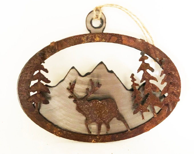 3-D Rusted Elk in Mountains