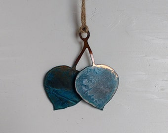 Patina Aspen Leaves Ornament
