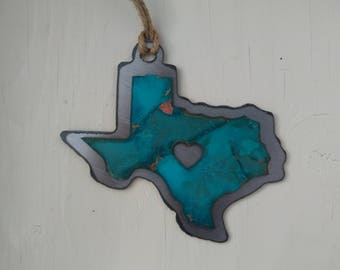Patina My Heart Is In Texas Ornament