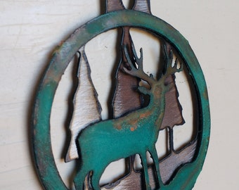 Patina Mule Deer Ornament
