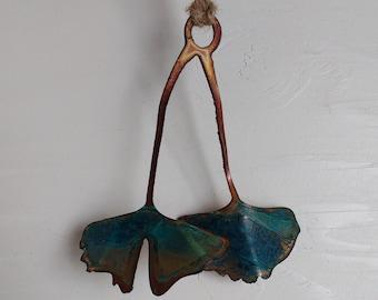 Patina Double Ginkgo Ornament