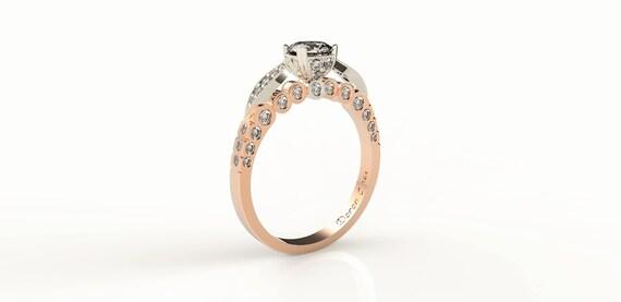 Liści Pierścionek Zaręczynowy 120 Rose Gold Diamond Ring Etsy