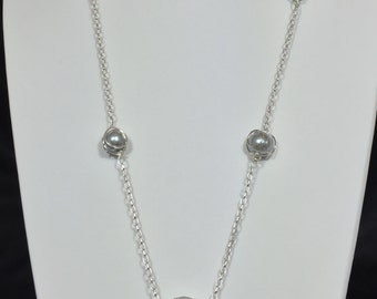 Chain necklace - wrapped gray beads
