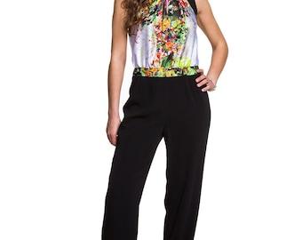 df657696ad7 Bohemian Jumpsuit Flowers Jumpsuit Boho Jumpsuit Boho Romper Wide Leg  Jumpsuit Women s Clothing Loose Jumpsuit Sleeveless Jumpsuit