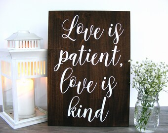 Wedding Aisle Signs - Love is Patient Wedding Signs - Ceremony Sign - Love is Patient Love is Kind - Rustic Wedding Decor - Aisle Decor
