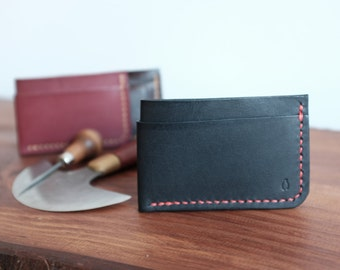Slim Leather Card Wallet, Handcrafted Mens Leather Minimalist Wallet, Leather Card Holder for Everyday Carry, FREE Personalized Initial