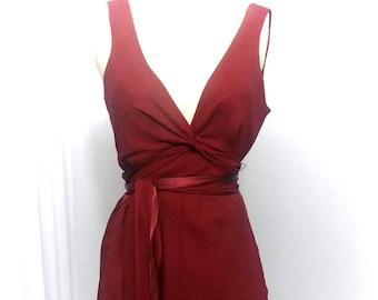 Red dress tied in waist
