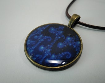 Lsd blotter art pendant glass resin blue fractals sacred geometry sacred pattern hippie
