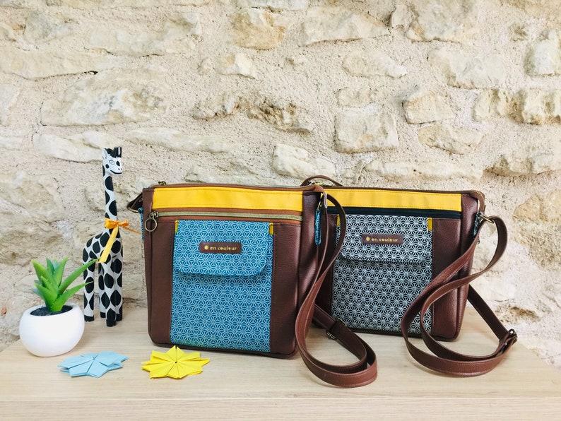 colorful and original casual bag handcrafted bag Shoulder bag original gift handmade bag crossbody Japanese inspiration camel leather