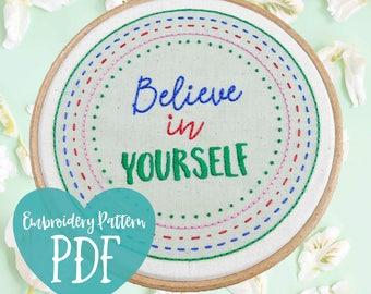 PDF Embroidery. Modern Beginner Embroidery Hoop Art. Hand Embroidery Sampler PDF. Modern Embroidery Pattern. Easy Embroidery Kit. Believe