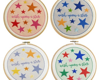 Embroidery Kit Beginner Wish Upon a Star modern Embroidery Kit perfect for a baby shower | Easy Hand Embroidery Patterns | Needle Craft Kit