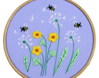 Dandelion Embroidery Pattern | Flowers Embroidery Pattern | Bees Embroidery Design | Floral Hand Embroidery Kit | Flower Needlecraft