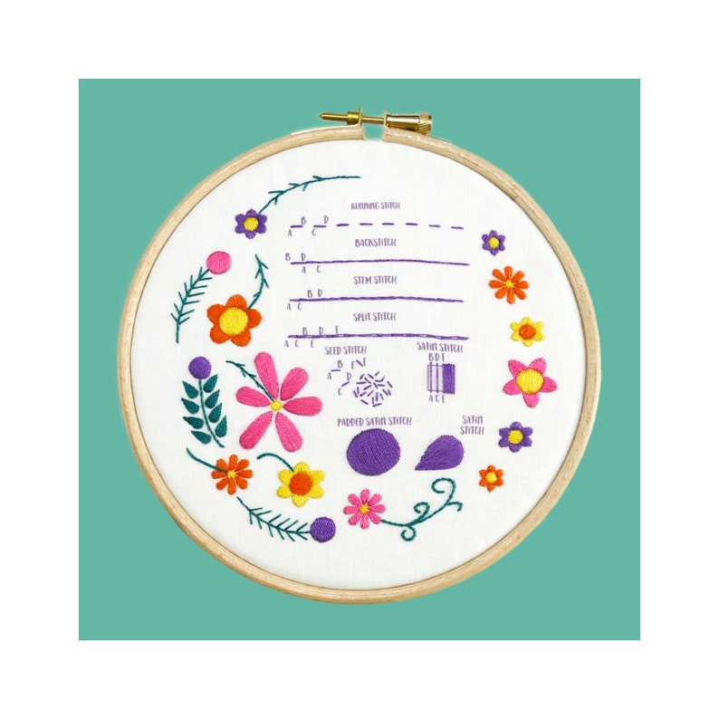 Beginner Embroidery Kit Tutorial  Modern Hand Embroidery Hoop image 0