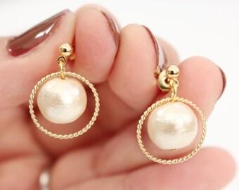 Drop pearl earrings, gold earrings, simple pearl and ring earrings, gold ring earrings, Bridal earrings, bridesmaid earrings, gift for her