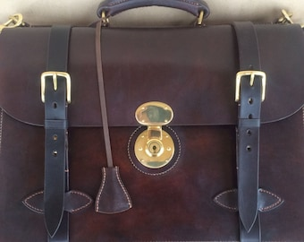 Classic English Leather Briefcase, accordion gusset
