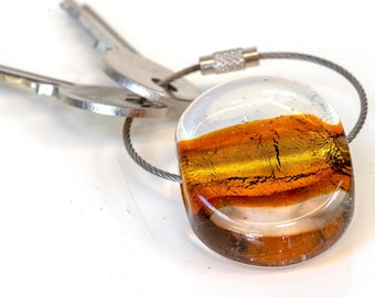 Glass keychain handmade in Murano by Cesare Sent original made in Italy  accessory fashion crafts.Unisex keychain with steel cable.