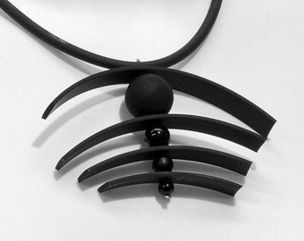 NECKLACE TOM Murano glass  handmade in Murano by Cesare Sent original made in Italy glass beads rubber tube fashion modern different crafts