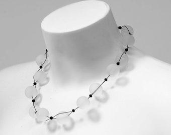 Murano glass necklace handmade in Murano by Cesare Sent original made in Italy  big matt glass bedas elegant fashion crafts modern