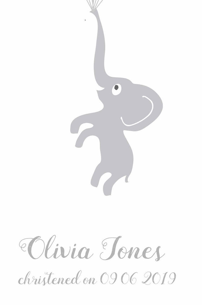 Personalised Christening Gift With Baby Elephant And Balloons Guest Book Alternative Baptism Poster Christening Decoration Signature Sign