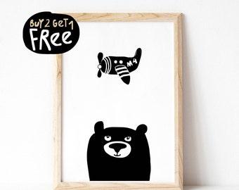 Woodland Bear Nursery Art Print, White Black Nursery Decor, Instant Download, Nursery Printable, Woodland Nursery Print, Plane Nursery Print
