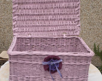 Vintage storage basket painted in Annie Sloan