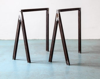 UpCycle table blocks, BERLIN-BUDAPEST, table frame, table legs hung in steel