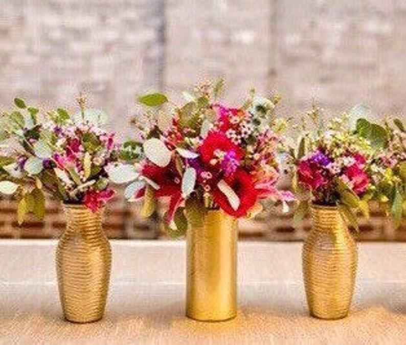 image 0 & Set Of 3 Vases Wedding Centerpieces Gold Vases Flower | Etsy