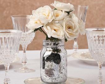 Painted Jars,Mercury Glass Vases,Rustic Centerpiece,Mercury Glass, Distressed Jars, Rustic Centerpiece, Rustic Wedding, Rustic Home Decor.