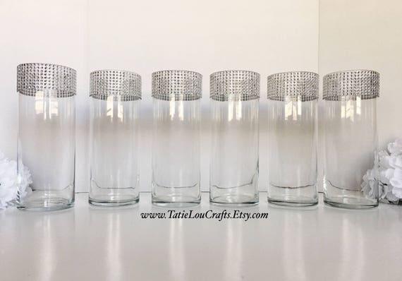 Set Of 6 Rhinestone Cylinder Vases Wedding Etsy