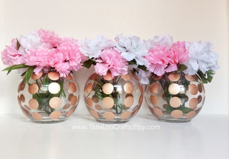 Set Of 3 Polka Dot Round Vases Baby Shower Centerpieces Etsy