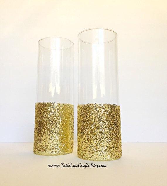 Set Of 2 Glass Cylinder Vases Wedding Centerpiecesbaptism Etsy