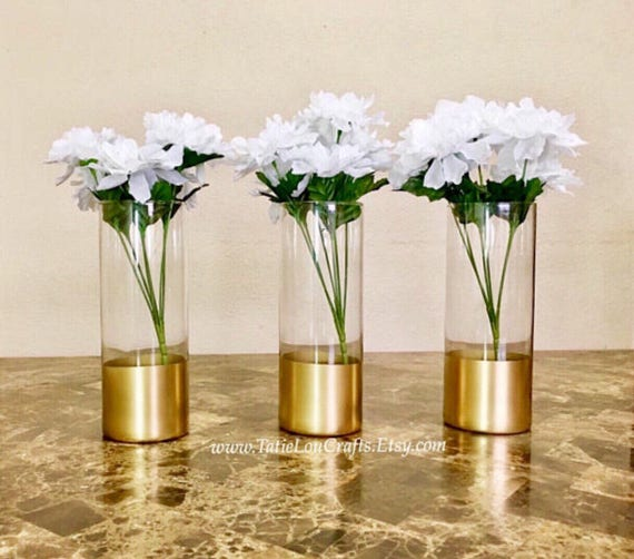 Set Of 3 Gold Dipped Vases Glass Cylinder Vases Gold Dipped Etsy