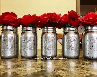 Mercury Jars, Mercury Candle Holder, Rustic Wedding, Mercury Glass, Rustic Jars, Rustic Decor, Silver Mercury Jars, Distressed Jars.