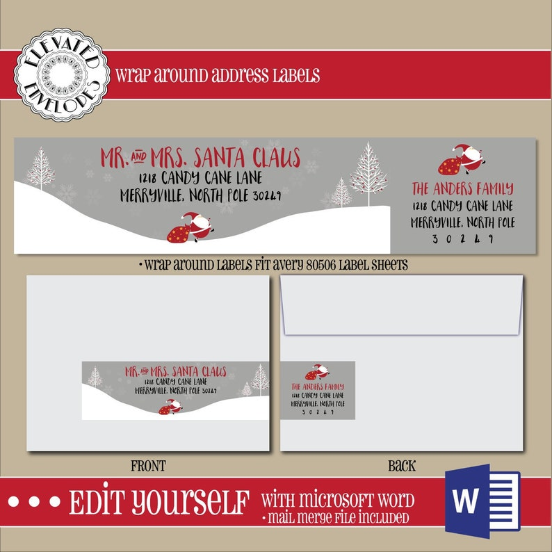 EDITABLE Christmas ADDRESS LABEL Template,Wrap Around Label,  Addressing,Christmas,Word,Mail Merge,Instant Download, Return Address,  Template