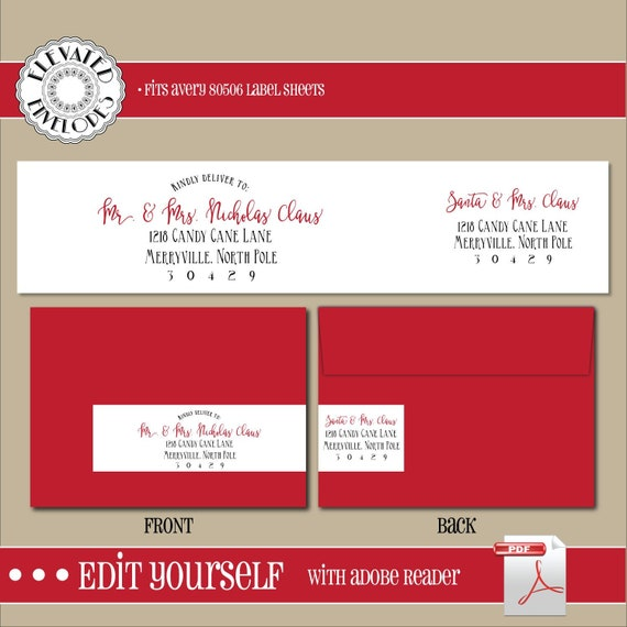EDITABLE Christmas ADDRESS LABEL Template,Wrap Around Label,  Addressing,Christmas,Adobe Reader,Instant Download, Return Address, Template