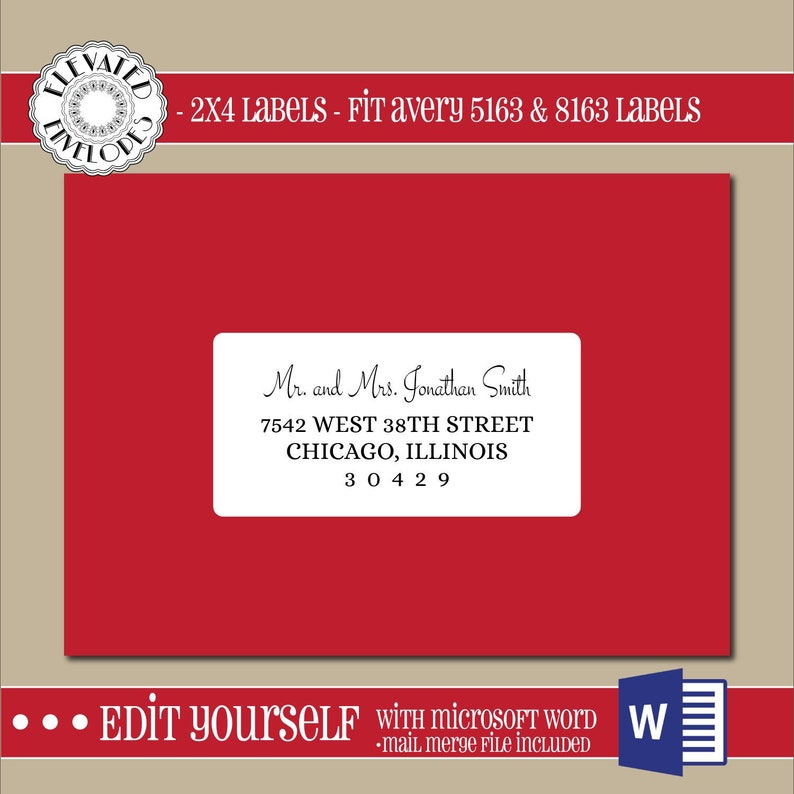 EDITABLE Christmas ADDRESS LABEL Template,2x4 Address Label,  Addressing,Christmas,Word,Mail Merge,Instant Download, Template