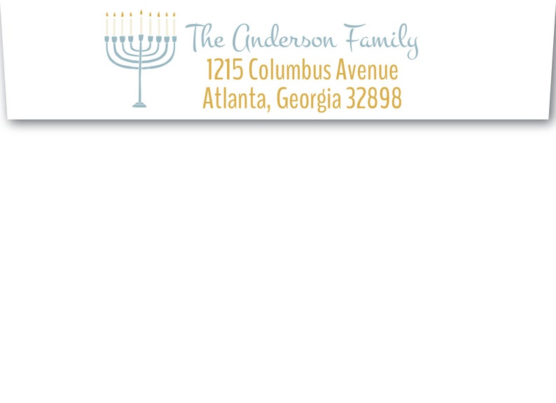 Return Address Envelope Addressing Hanukkah Envelope ADDRESSING Templett EDITABLE Christmas ENVELOPE Template Menorah