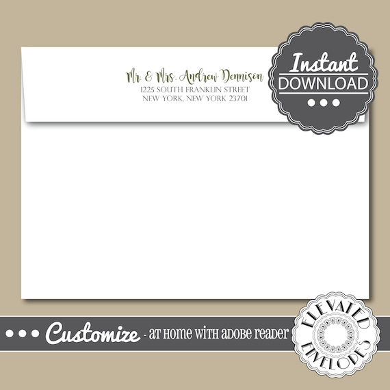 editable elegant envelope templatewedding envelope etsy