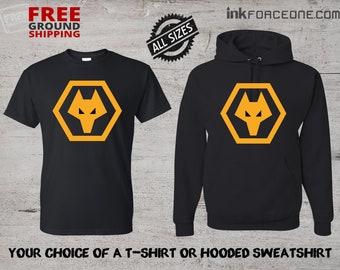 8cfac1cd4bc Wolverhampton Wanderers FC Black T-Shirt or Black Hooded Sweatshirt Hoodie  England Football Soccer Wolves, The Wanderers