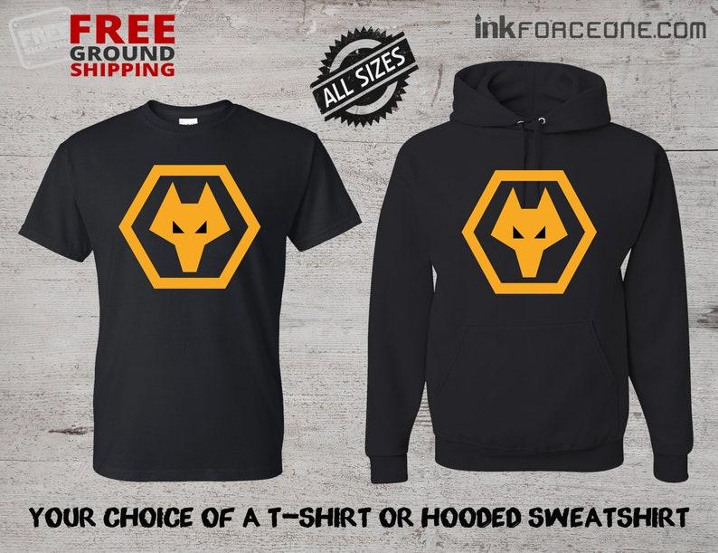 53f8afeb249 Wolverhampton Wanderers FC Black T-Shirt or Black Hooded | Etsy