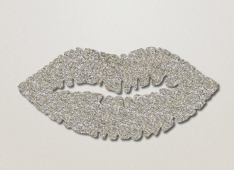 Silver Glitter Lips Wall Art Lip Shaped Beauty Room Decor Makeup Bedroom Decoration Salon Wall Hanging By Glamtech