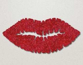 Red Glitter Lips Wall Art - Lip Shaped Beauty Room Decor - Makeup Bedroom Decoration - Salon Wall Hanging - by GlamTech