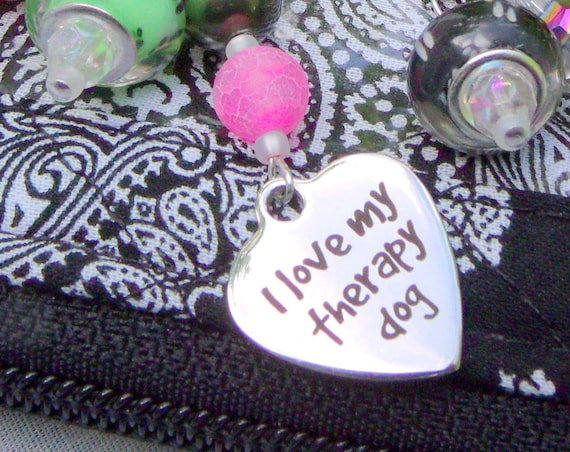 Therapy dog charm key rings - silver heart - paw print beads - service dog gift - mental illness awareness - Dog key ring - support dog