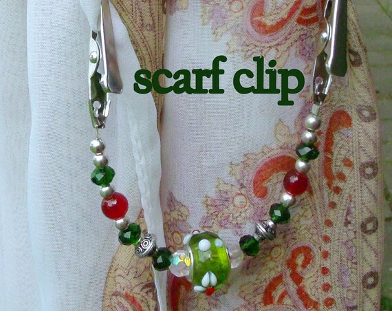 """6 """" Sweater or Shawl clip with elegant silver beads  and red agate beads - floral green red European bead - Sweater guard clip -  Christmas"""
