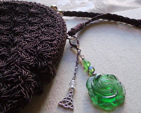 Green flower zipper pull -  black glass flower -  purse clip - tote/journal -  st Patrick day gift -  spring rose charm - Celtic knot