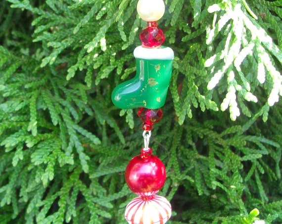 Green stocking ornament - candy cane  christmas boots - holiday grab gift - candy cane decor - whimsical - stocking stuffer  - Lizporiginals
