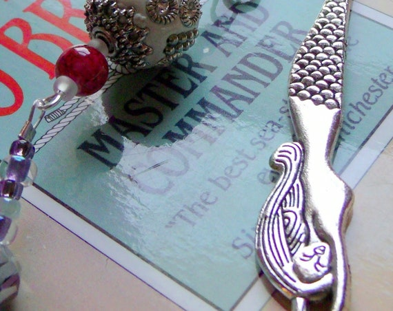 Mermaid  bookmark - gemstone pendant agate -  moon - teen girl gift - reading accessory - book club gift - pink stone page marker