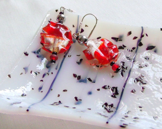 Red foil glass earrings gift set - white black trinket dish - coin - soap or candy dish - Mothers day gift - silver artisan earrings